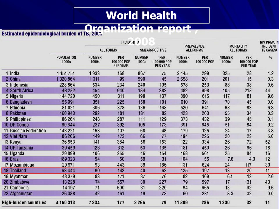 World Health Organization report, 2008