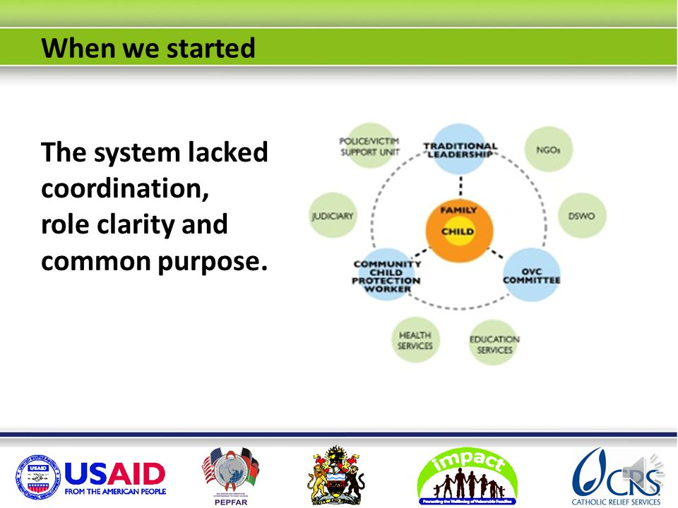 StructureStatus National child protection legislation Passed but not yet rolled out Government child protection staff at district and community levels Capable but under-resourced, uncoordinated A robust network of influential traditional leaders Willing, but not sensitized and under-utilized OVC committees Committed but not mandated or trained in child protection