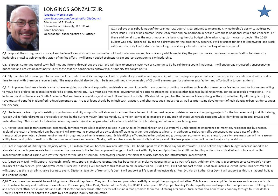 LONGINOS GONZALEZ JR.longinosjr@gmail.com www.facebook.com/LonginosForCityCouncil Education: M.S.