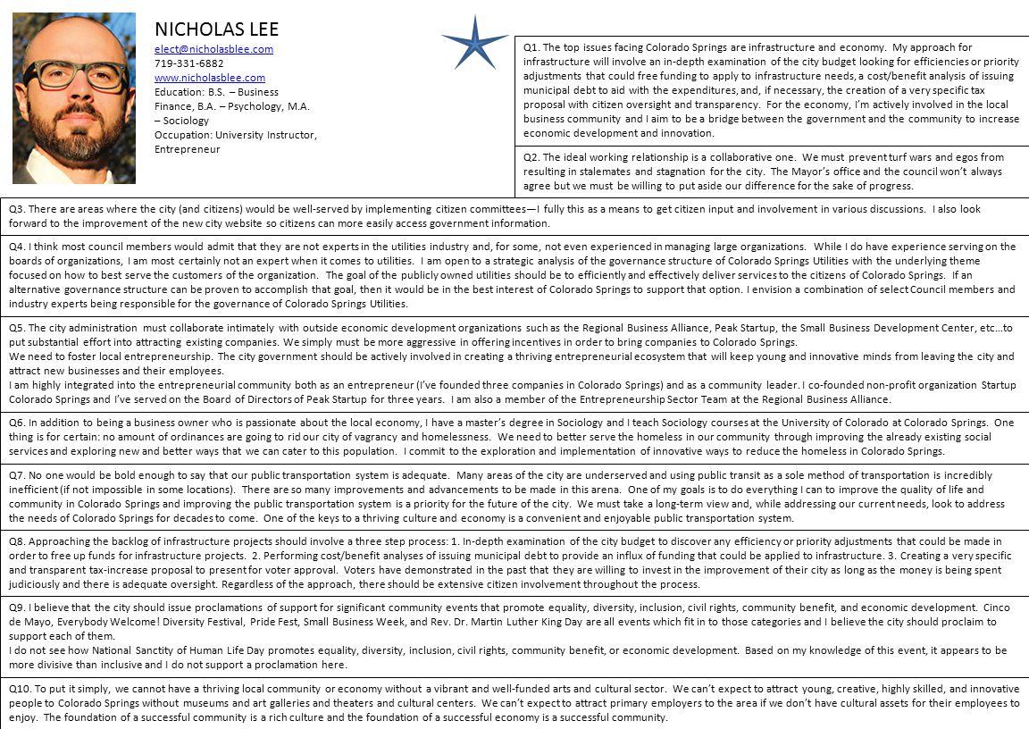 NICHOLAS LEE elect@nicholasblee.com 719-331-6882 www.nicholasblee.com Education: B.S.