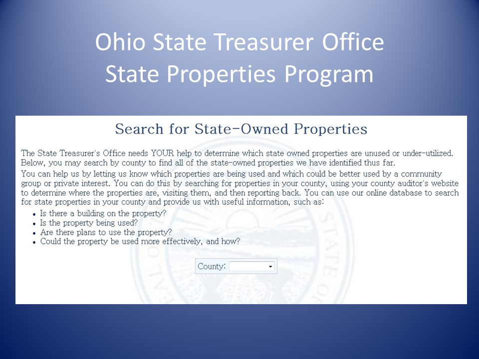 Ohio State Treasurer Office State Properties Program