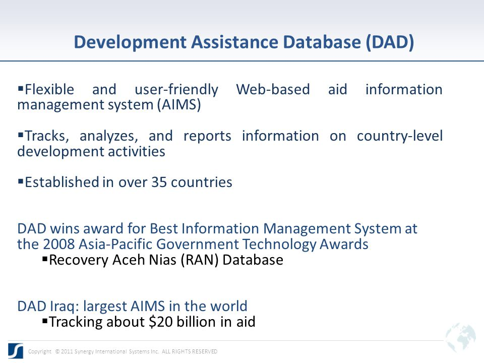 Screenshot of DAD DAD Pakistan Pledges, Commitments, Disbursements, Expenditures per Funding Source Copyright © 2011 Synergy International Systems Inc.