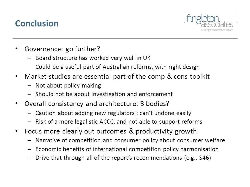 Conclusion Governance: go further.