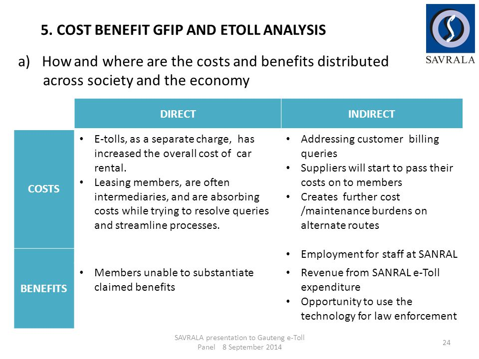 a)How and where are the costs and benefits distributed across society and the economy SAVRALA presentation to Gauteng e-Toll Panel 8 September 2014 24 5.