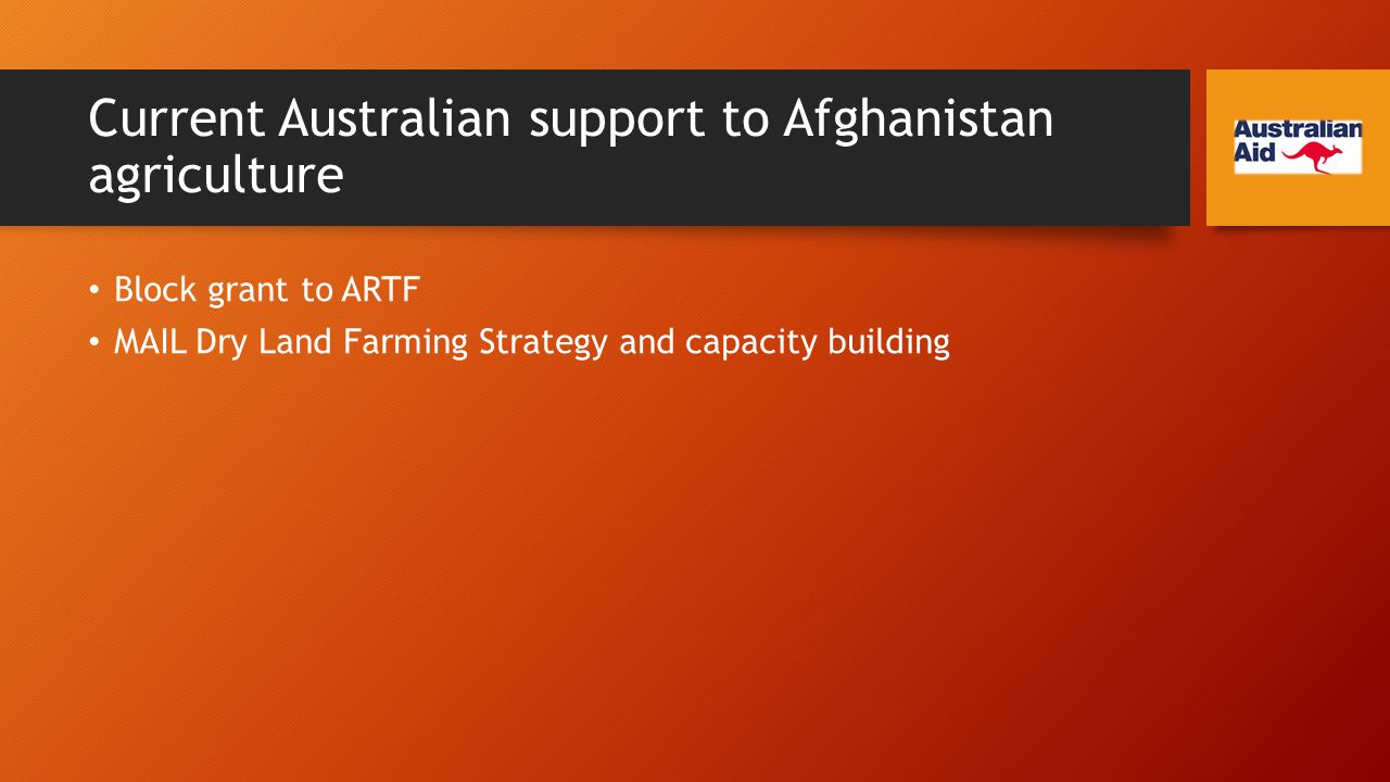 Current Australian support to Afghanistan agriculture Block grant to ARTF MAIL Dry Land Farming Strategy and capacity building