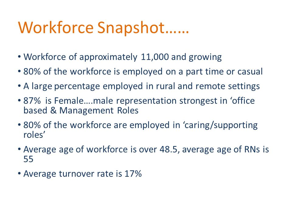 Workforce Snapshot…… Workforce of approximately 11,000 and growing 80% of the workforce is employed on a part time or casual A large percentage employed in rural and remote settings 87% is Female….male representation strongest in 'office based & Management Roles 80% of the workforce are employed in 'caring/supporting roles' Average age of workforce is over 48.5, average age of RNs is 55 Average turnover rate is 17%