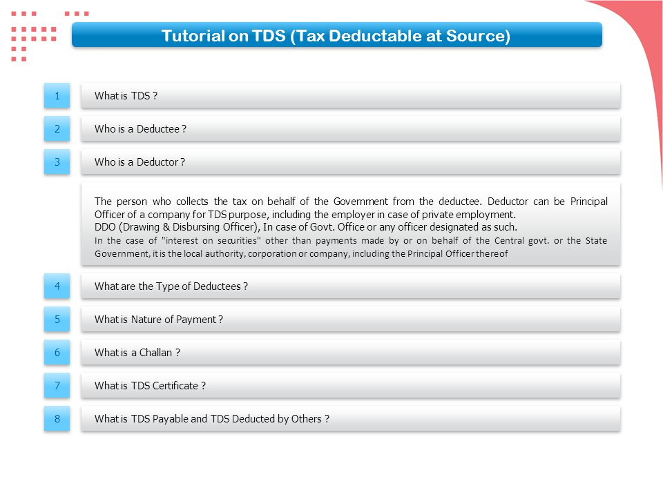 What is TDS .What is TDS . Who is a Deductee . Who is a Deductor .
