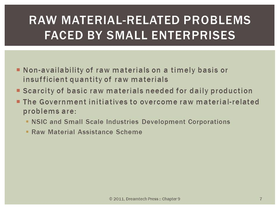  Non-availability of raw materials on a timely basis or insufficient quantity of raw materials  Scarcity of basic raw materials needed for daily pro