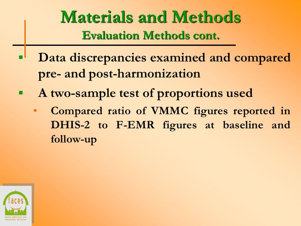 Materials and Methods Evaluation Methods cont.
