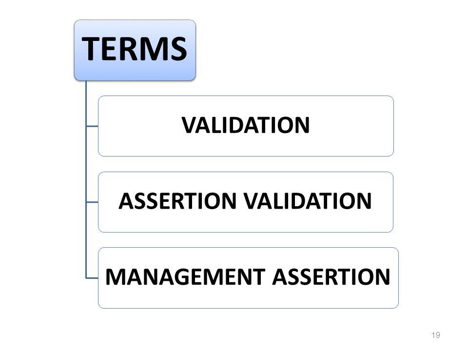 TERMS VALIDATIONASSERTION VALIDATIONMANAGEMENT ASSERTION 19