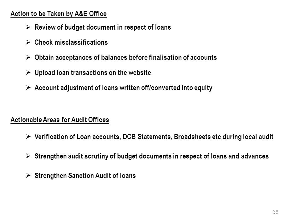 Action to be Taken by A&E Office  Review of budget document in respect of loans  Check misclassifications  Obtain acceptances of balances before finalisation of accounts  Upload loan transactions on the website  Account adjustment of loans written off/converted into equity 38 Actionable Areas for Audit Offices  Verification of Loan accounts, DCB Statements, Broadsheets etc during local audit  Strengthen audit scrutiny of budget documents in respect of loans and advances  Strengthen Sanction Audit of loans