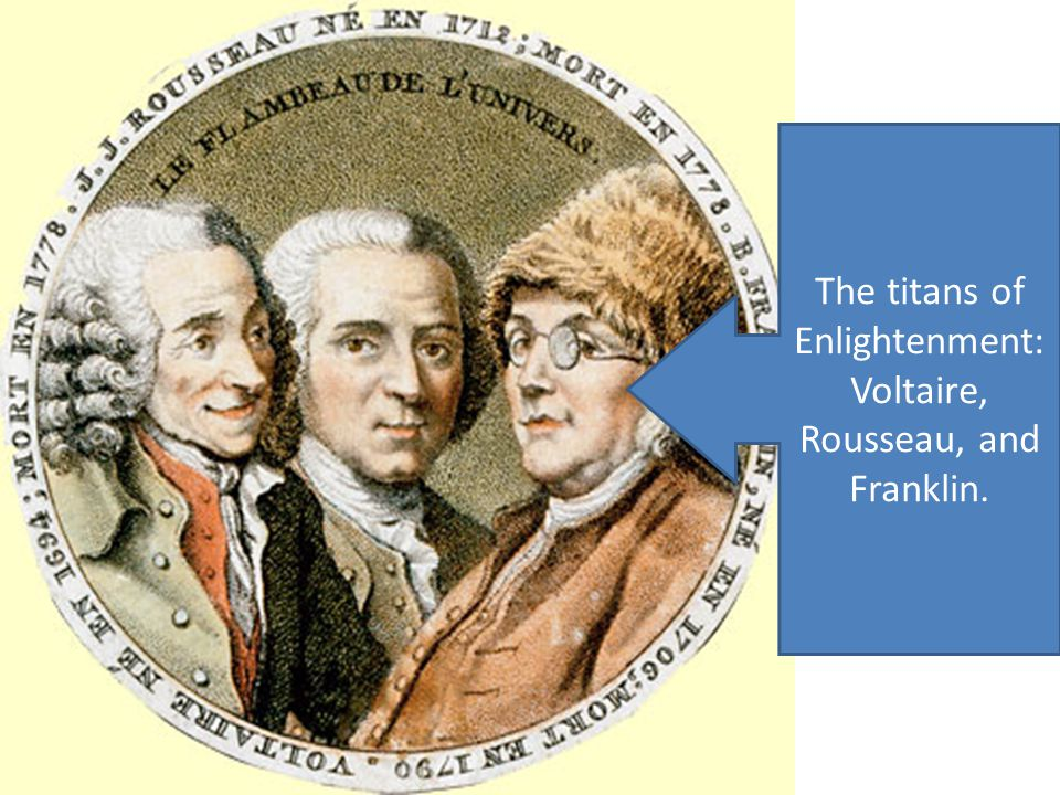 The titans of Enlightenment: Voltaire, Rousseau, and Franklin.