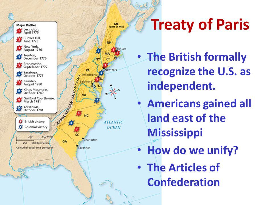 The British formally recognize the U.S. as independent. Americans gained all land east of the Mississippi How do we unify? The Articles of Confederati
