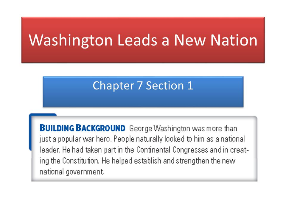 Washington Leads a New Nation Chapter 7 Section 1
