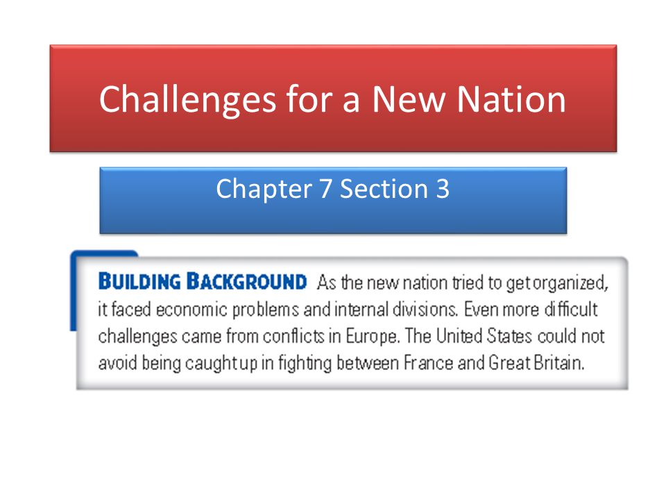 Challenges for a New Nation Chapter 7 Section 3