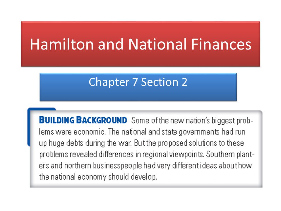 National Debt As secretary of the treasury, Hamilton's biggest challenge was paying off the national debt- money owed by the United States from the Revolutionary War During the war the government raised money with bonds.