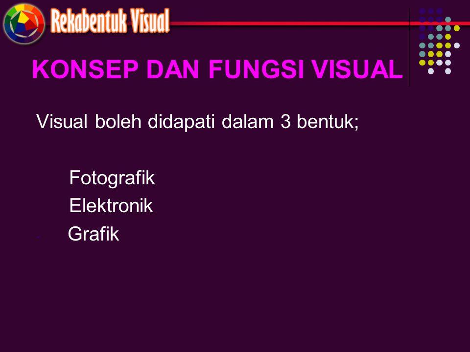 KONSEP DAN FUNGSI VISUAL Visual boleh didapati dalam 3 bentuk; Fotografik Elektronik - Grafik