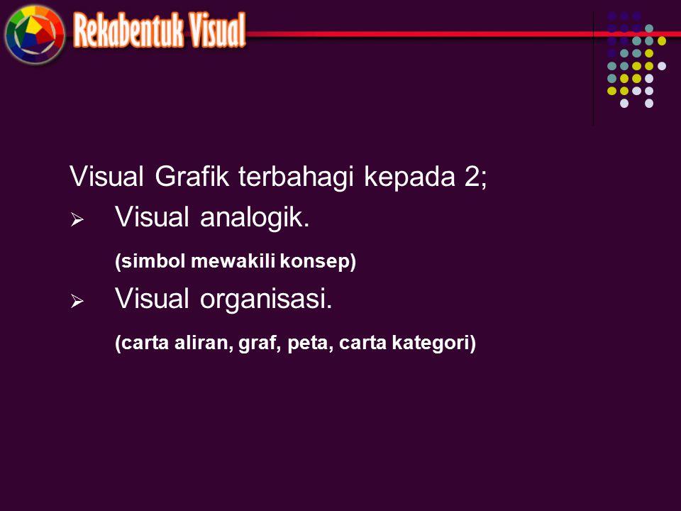 Visual Grafik terbahagi kepada 2;  Visual analogik. (simbol mewakili konsep)  Visual organisasi. (carta aliran, graf, peta, carta kategori)