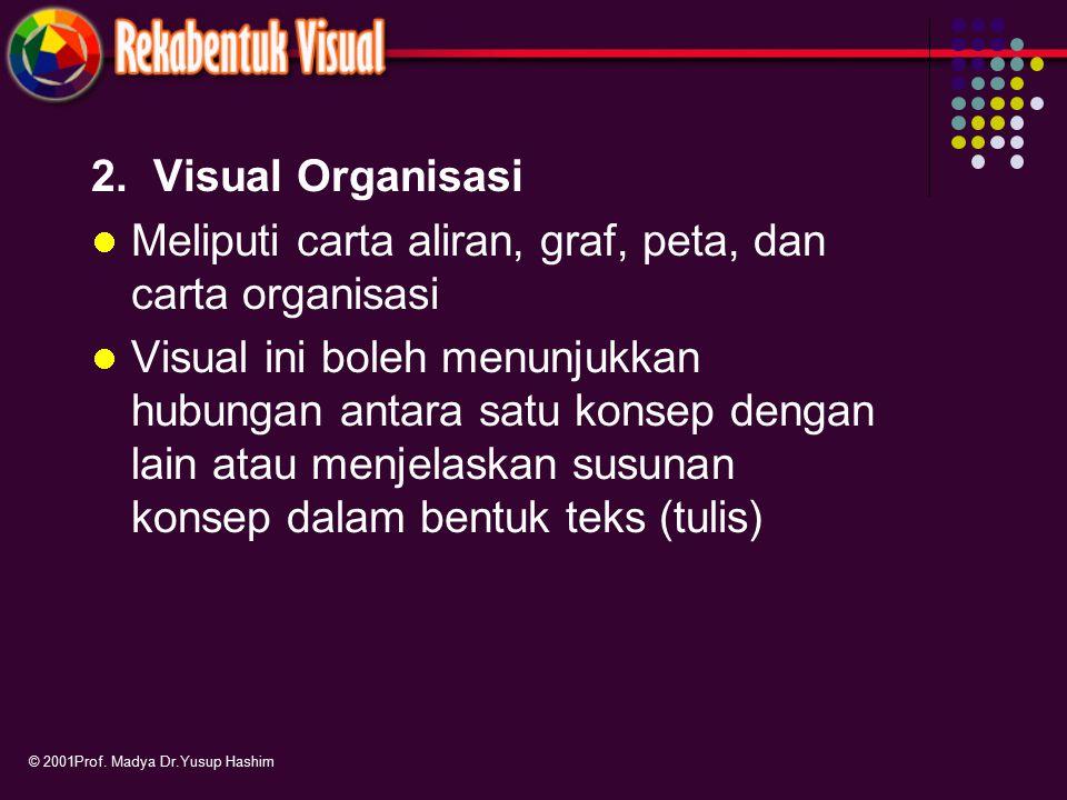 2. Visual Organisasi Meliputi carta aliran, graf, peta, dan carta organisasi Visual ini boleh menunjukkan hubungan antara satu konsep dengan lain atau