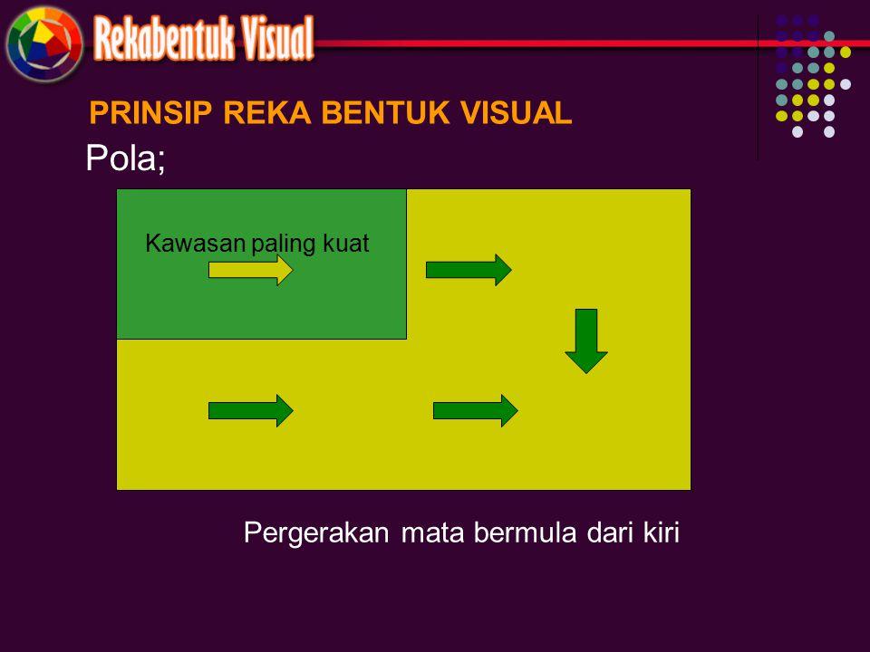 PRINSIP REKA BENTUK VISUAL Pola; Kawasan paling kuat Pergerakan mata bermula dari kiri