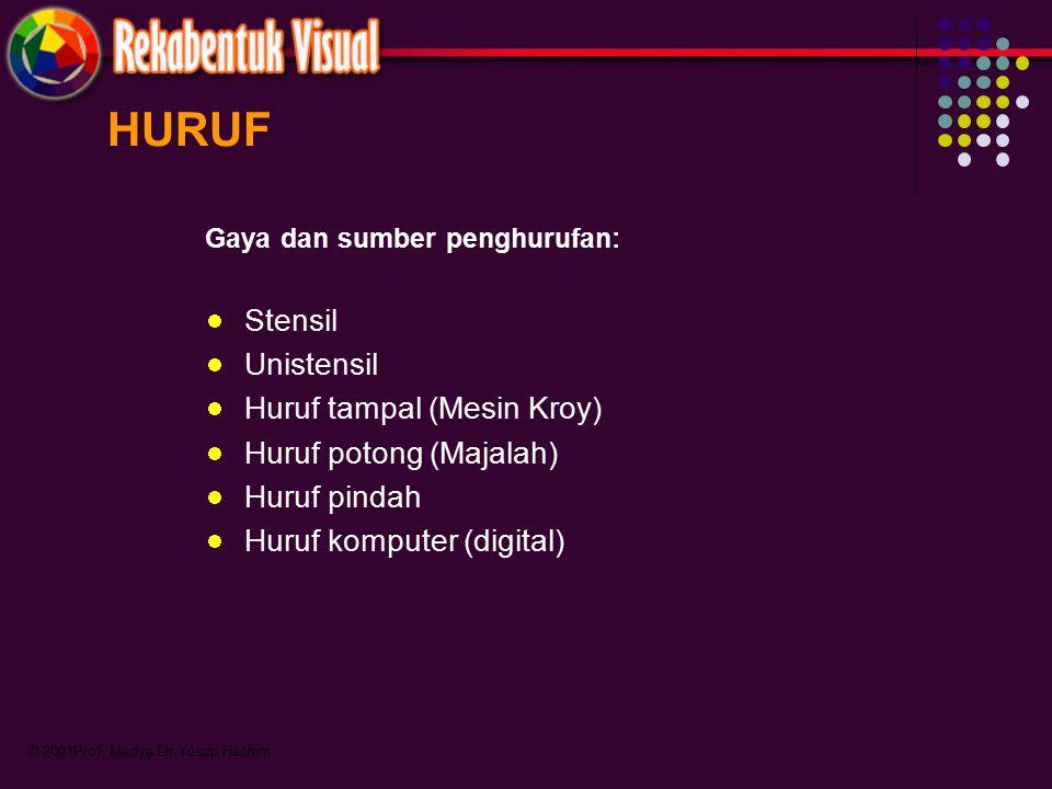 © 2001Prof. Madya Dr.Yusup Hashim Gaya dan sumber penghurufan: Stensil Unistensil Huruf tampal (Mesin Kroy) Huruf potong (Majalah) Huruf pindah Huruf