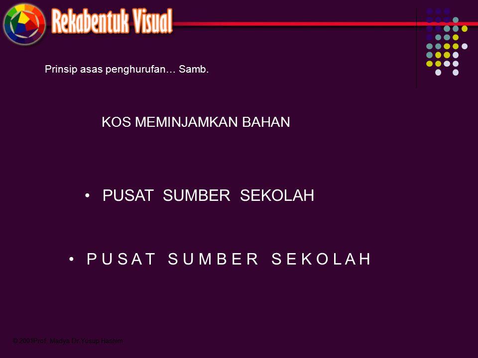 © 2001Prof. Madya Dr.Yusup Hashim Prinsip asas penghurufan… Samb. KOS MEMINJAMKAN BAHAN PUSAT SUMBER SEKOLAH