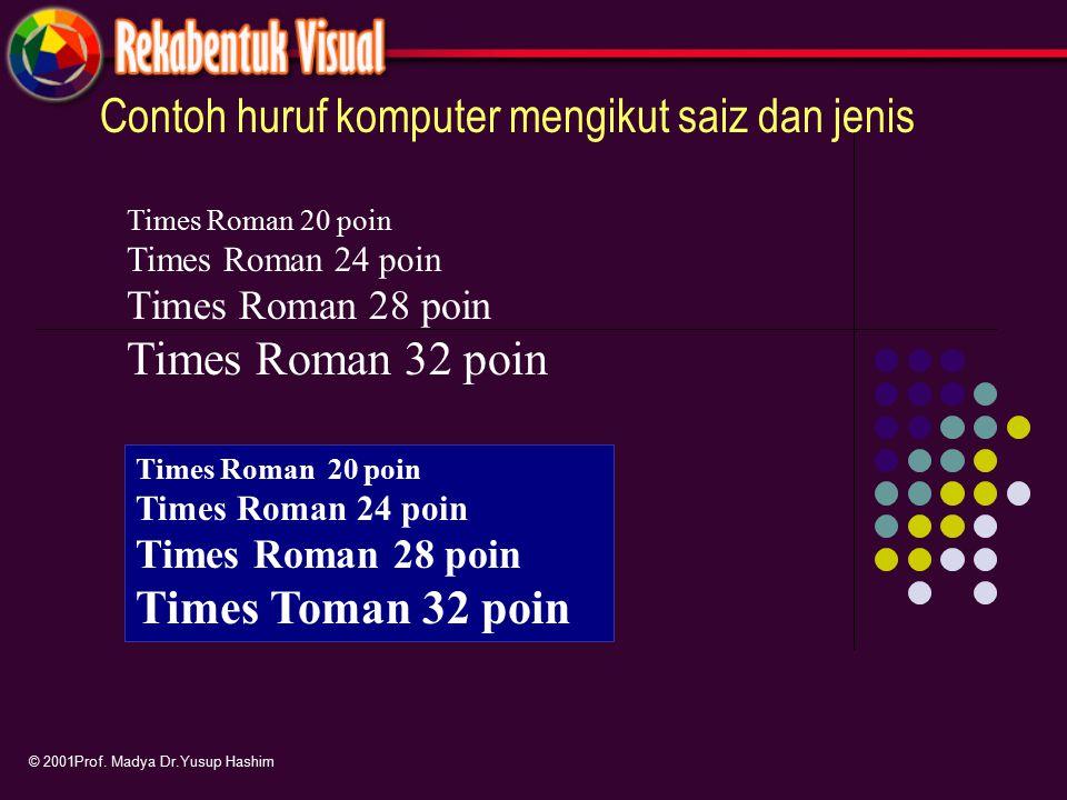 Contoh huruf komputer mengikut saiz dan jenis © 2001Prof. Madya Dr.Yusup Hashim Times Roman 20 poin Times Roman 24 poin Times Roman 28 poin Times Roma