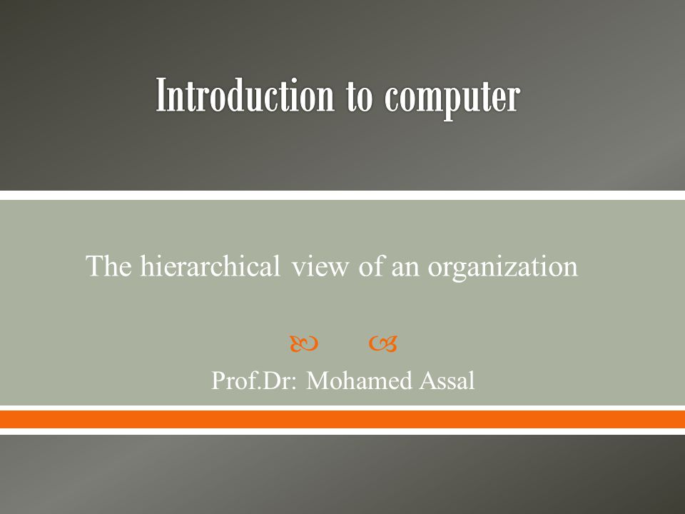  Prof.Dr: Mohamed Assal The hierarchical view of an organization