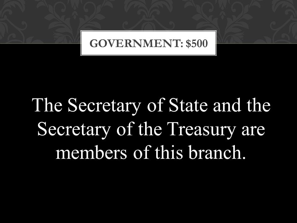 GOVERNMENT: $500 The Secretary of State and the Secretary of the Treasury are members of this branch.