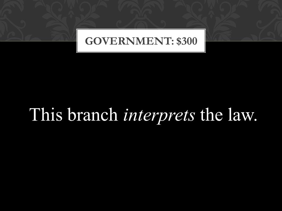 GOVERNMENT: $300 This branch interprets the law.