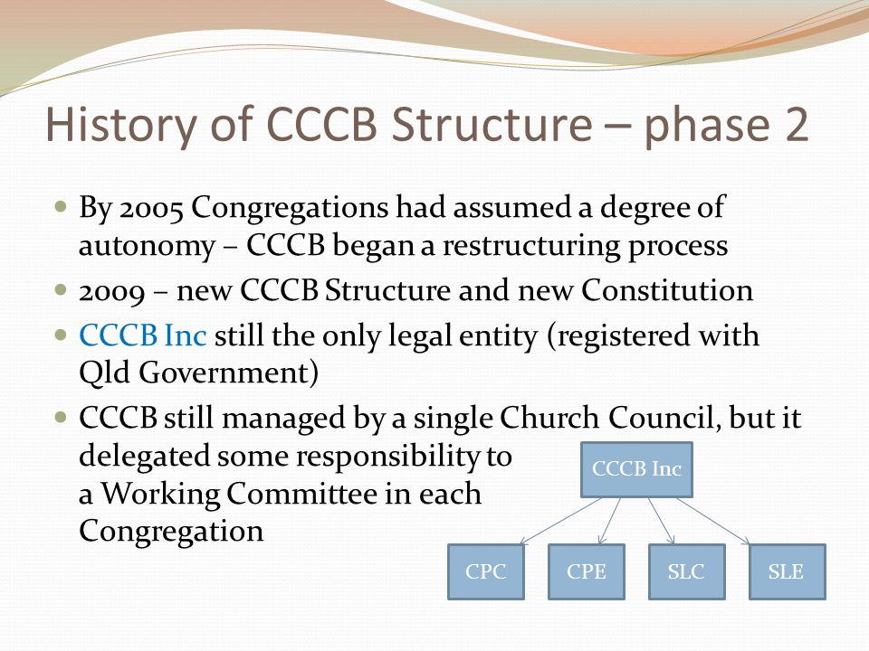 History of CCCB Structure – phase 2 By 2005 Congregations had assumed a degree of autonomy – CCCB began a restructuring process 2009 – new CCCB Structure and new Constitution CCCB Inc still the only legal entity (registered with Qld Government) CCCB still managed by a single Church Council, but it delegated some responsibility to a Working Committee in each Congregation CCCB Inc CPCCPESLCSLE