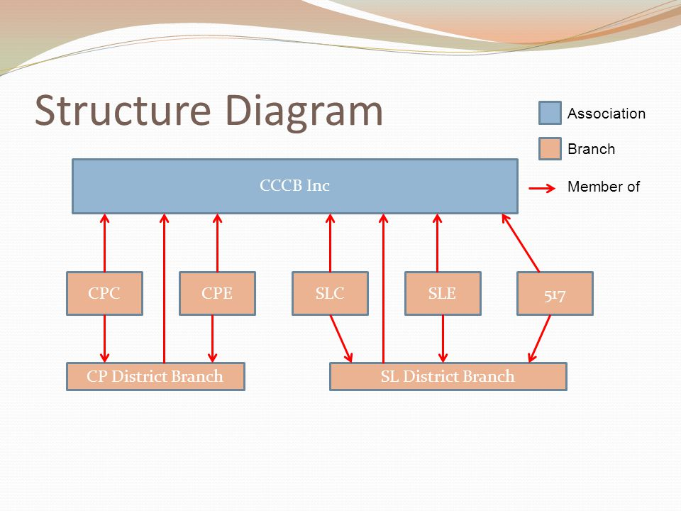 Structure Diagram Association Branch Member of CCCB Inc CPCCPESLCSLE517 CP District BranchSL District Branch