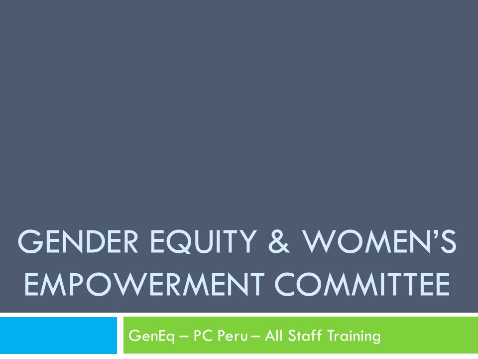 GENDER EQUITY & WOMEN'S EMPOWERMENT COMMITTEE GenEq – PC Peru – All Staff Training
