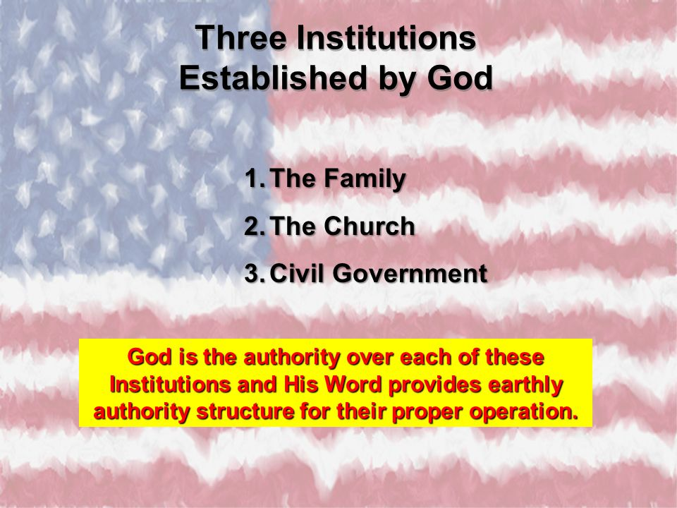 Three Institutions Established by God Three Institutions Established by God 1.The Family 2.The Church 3.Civil Government God is the authority over eac