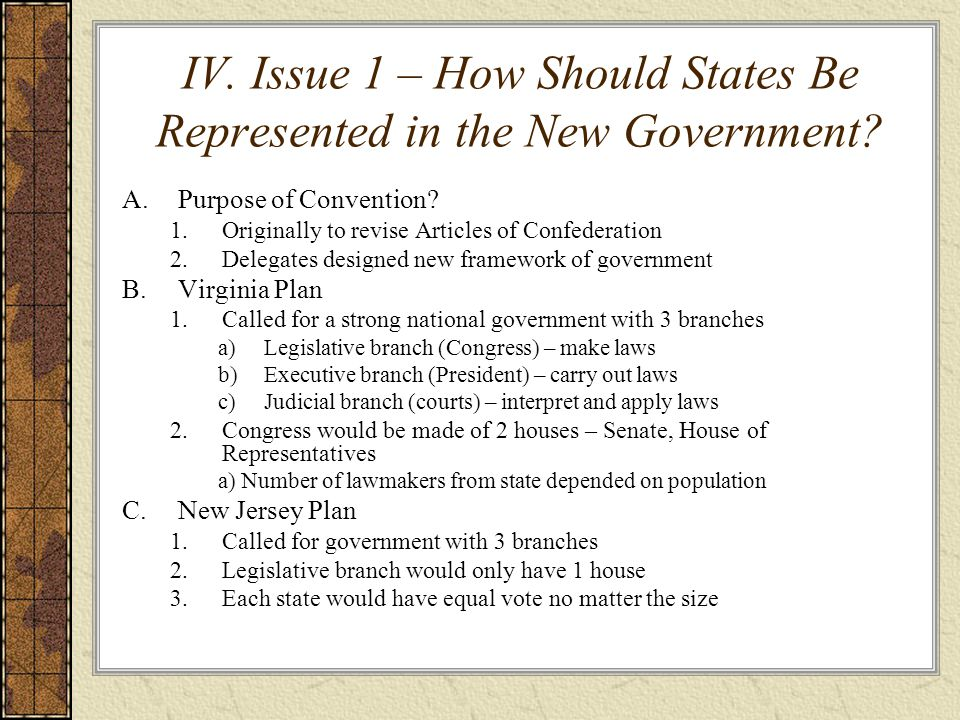 IV. Issue 1 – How Should States Be Represented in the New Government? A.Purpose of Convention? 1.Originally to revise Articles of Confederation 2.Dele