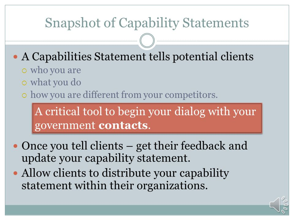 WHAT ARE CAPABILITY STATEMENTS Capability Statements
