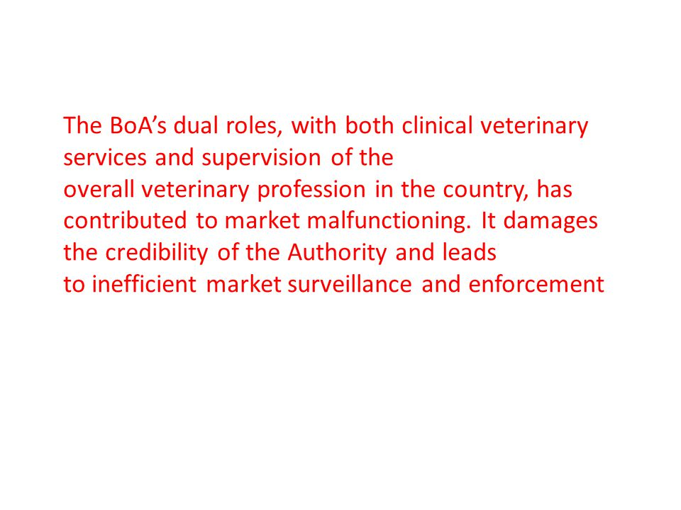 The BoA's dual roles, with both clinical veterinary services and supervision of the overall veterinary profession in the country, has contributed to m