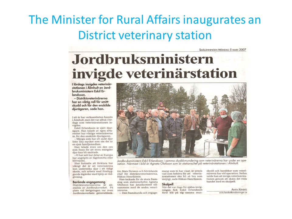The Minister for Rural Affairs inaugurates an District veterinary station