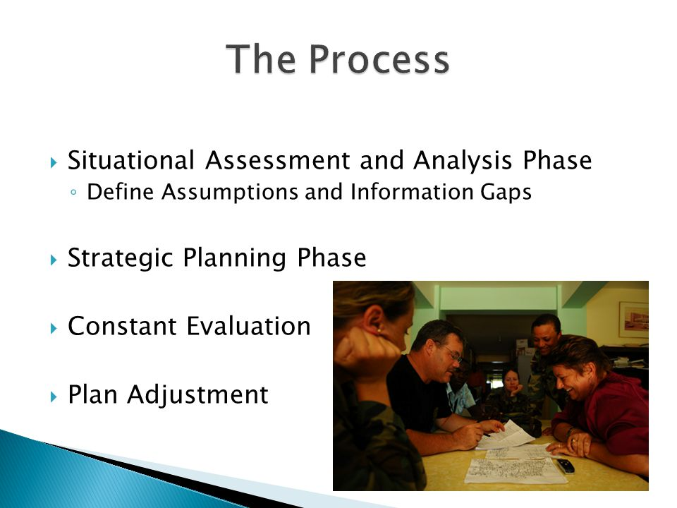  Situational Assessment and Analysis Phase ◦ Define Assumptions and Information Gaps  Strategic Planning Phase  Constant Evaluation  Plan Adjustment