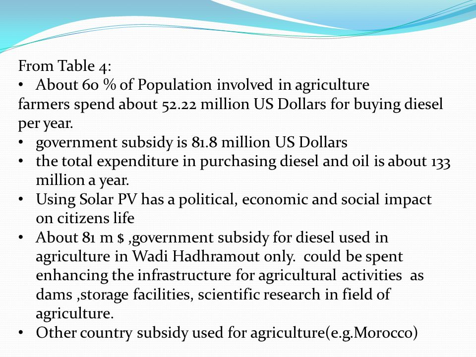 From Table 4: About 60 % of Population involved in agriculture farmers spend about 52.22 million US Dollars for buying diesel per year.