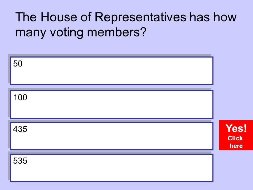 The House of Representatives has how many voting members? Yes! Click here 50 100 435 535