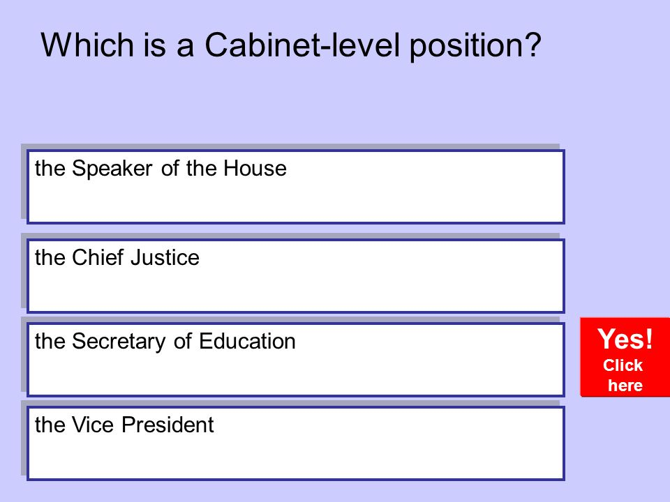 Which is a Cabinet-level position.Yes.
