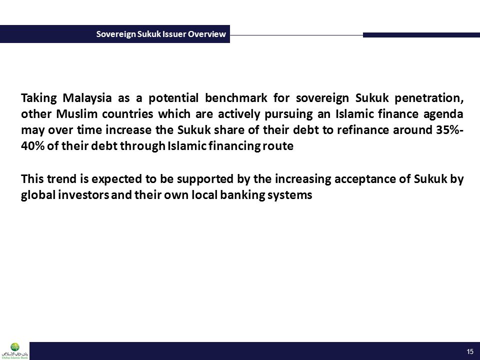 Sovereign Sukuk Issuer Overview 15 Taking Malaysia as a potential benchmark for sovereign Sukuk penetration, other Muslim countries which are actively