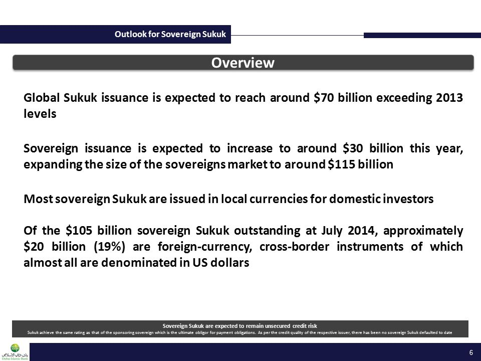 Outlook for Sovereign Sukuk Global Sukuk issuance is expected to reach around $70 billion exceeding 2013 levels Sovereign issuance is expected to incr