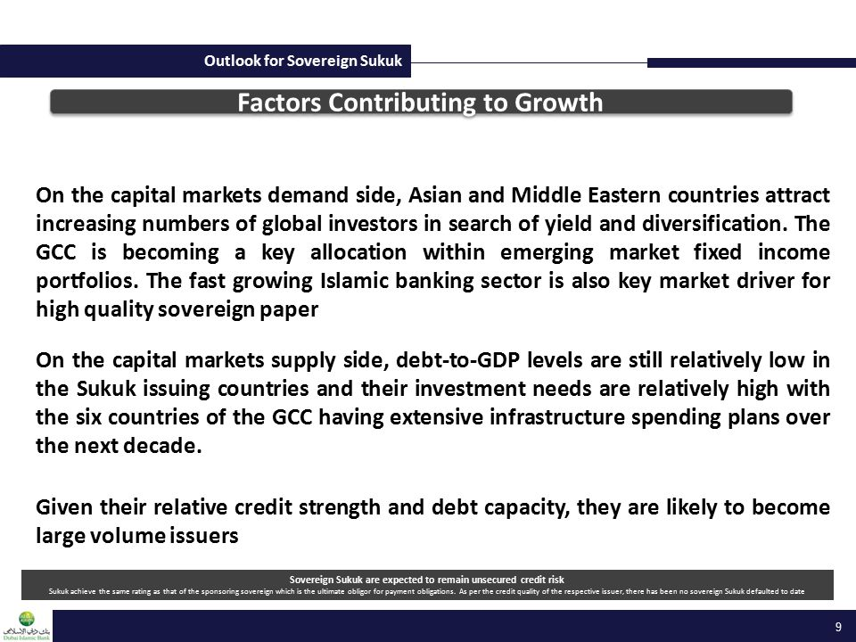 Outlook for Sovereign Sukuk Factors Contributing to Growth On the capital markets demand side, Asian and Middle Eastern countries attract increasing numbers of global investors in search of yield and diversification.