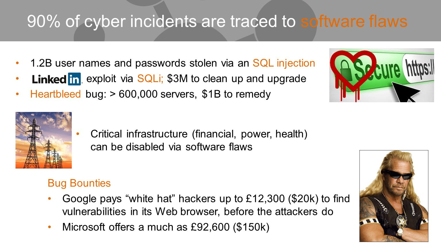 1.2B user names and passwords stolen via an SQL injection exploit via SQLi; $3M to clean up and upgrade Heartbleed bug: > 600,000 servers, $1B to reme