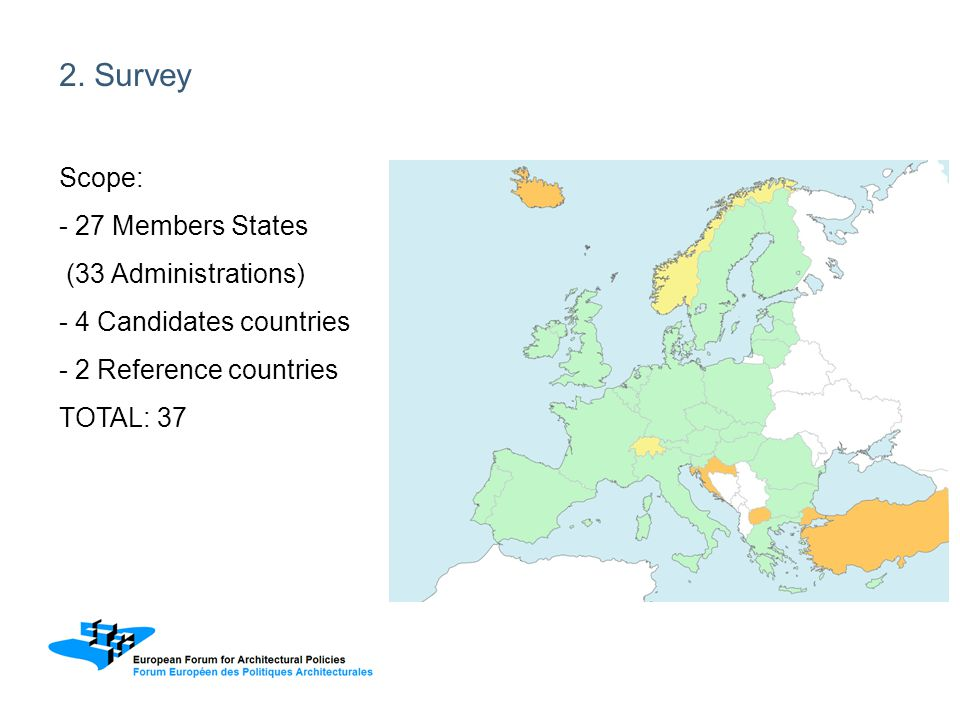 2. Survey Scope: - 27 Members States (33 Administrations) - 4 Candidates countries - 2 Reference countries TOTAL: 37