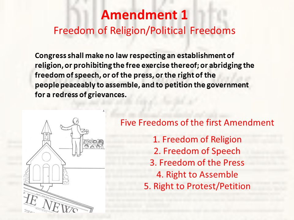Amendment 1 Freedom of Religion/Political Freedoms Congress shall make no law respecting an establishment of religion, or prohibiting the free exercise thereof; or abridging the freedom of speech, or of the press, or the right of the people peaceably to assemble, and to petition the government for a redress of grievances.