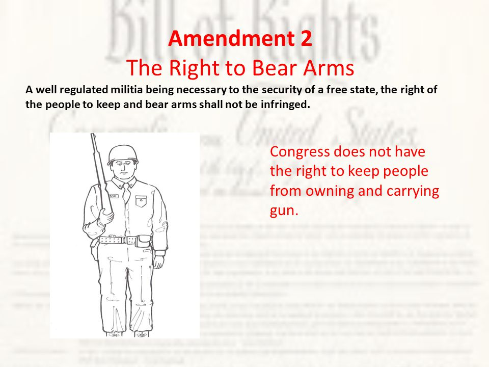Congress does not have the right to keep people from owning and carrying gun.