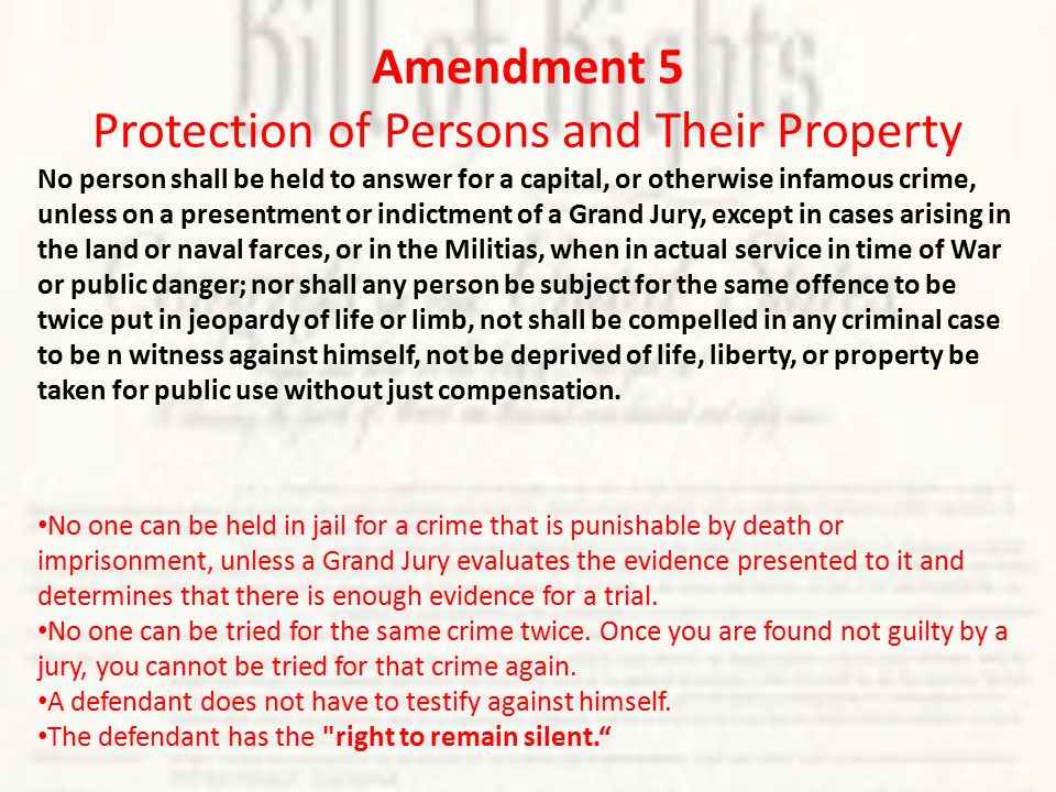 Amendment 6 Rights of Persons Accused of A Crime In all criminal, prosecutions, the accused shall enjoy the right to a speedy public trial, by an impartial jury of the State and district wherein the crime shall have been committed; which district shall have been previously ascertained by law, and to be informed of the nature and cause of the accusation; to be confronted with the witnesses against him; to have compulsory process for obtaining witnesses in his favor, and to have the assistance of counsel for his defense.